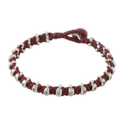 Silver beaded wristband bracelet, 'Karen Fashion in Cherry' - Cherry Red Cord Bracelet with Hill Tribe Silver Beads