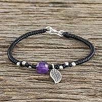 Amethyst and silver beaded charm bracelet, 'Hill Tribe Leaf' - Leaf Motif Black Cord Bracelet with Amethyst Bead
