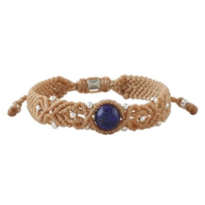 Lapis lazuli pendant bracelet, 'Lampang Blue' - Hand Woven Macrame Bracelet with Lapis Lazuli