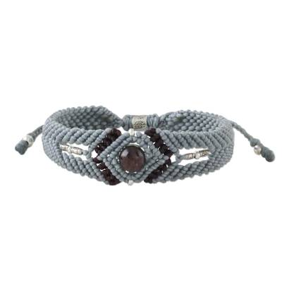 Karen Hill Tribe Silver and Garnet Pendant Bracelet