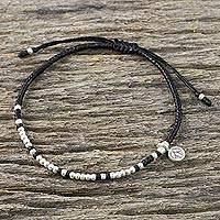 Featured review for Silver beaded cord charm bracelet, Bohemian Life in Black