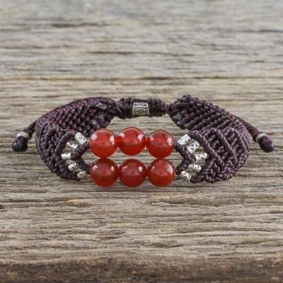 Carnelian beaded pendant bracelet, 'Smart Scarlet' - Carnelian Bead Pendant Bracelet with 950 Silver Accents