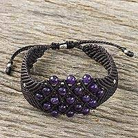 Amethyst beaded bracelet, 'Hill Tribe Constellation' - Beaded Amethyst Bracelet on Dark Brown Cords