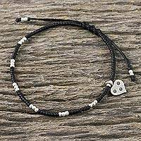 Silver beaded cord charm bracelet,