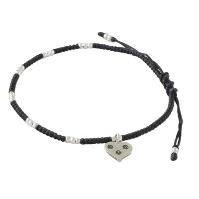 Silver beaded cord charm bracelet, 'Heart's Wish' - Hill Tribe Style Silver 950 Black Cord Heart Bracelet