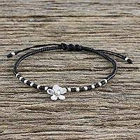 Silver beaded cord charm bracelet, 'Flower Charm' - 950 Silver Flower Charm Bracelet on Black Cords