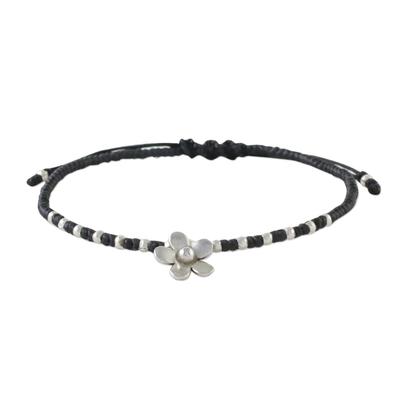 Silver beaded cord charm bracelet, 'Flower Charm' - 950 Silver Flower Charm Bracelet on Black Cords