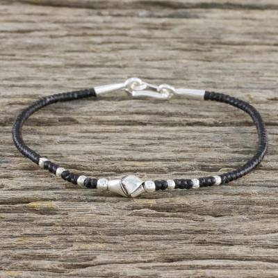 Silver beaded cord bracelet, 'Knot Me' - Unique 950 Silver Knot Bracelet on Black Braided Cords
