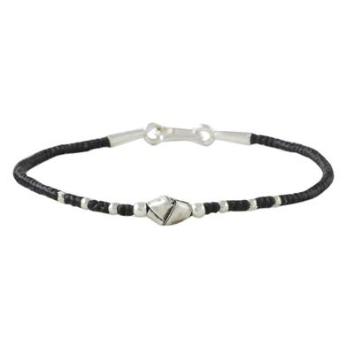 Silver beaded cord bracelet, 'Knot Me' - Unique 950 Silver Knot Bracelet on Black Braided Cords