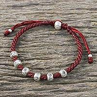 Silver beaded cord bracelet, 'Karen Wonder' - Beaded 950 Silver and Crimson Cord Bracelet from Thailand