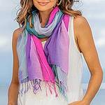 Two Handwoven Ombre Cotton Wrap Scarves from Thailand, 'Innocent Colors'