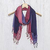 Cotton scarves, 'Colors of Experience' (pair)