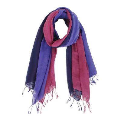 Cotton scarves, 'Colors of Experience' (pair) - Two Handwoven Cotton Wrap Scarves from Thailand