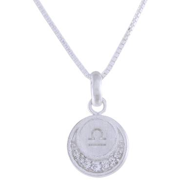 Sterling silver pendant necklace, 'Zodiac Charm Libra' - Sterling Silver Libra Symbol Pendant Necklace from Thailand