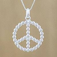 Sterling silver pendant necklace, 'Be At Peace' - Sterling Silver Peace Sign Pendant Necklace from Thailand