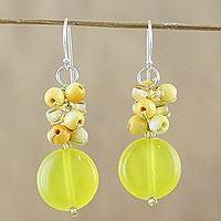 Quartz beaded dangle earrings, 'Fun Circles in Yellow' - Quartz and Glass Bead Dangle Earrings from Thailand