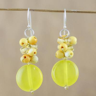 Quartz Beaded Dangle Earrings Fun Circles In Yellow And Gl Bead