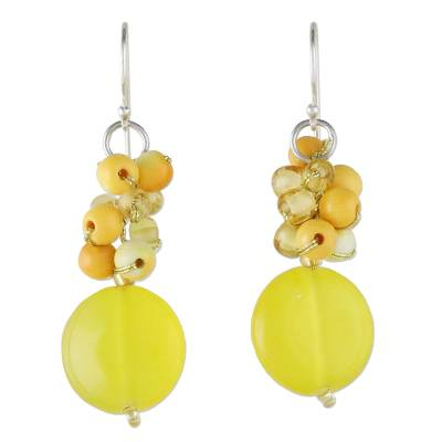 Quartz and Glass Bead Dangle Earrings from Thailand