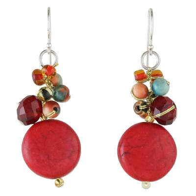 Red Calcite and Glass Bead Dangle Earrings from Thailand