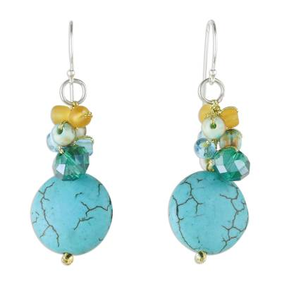 Blue Calcite and Glass Bead Dangle Earrings from Thailand