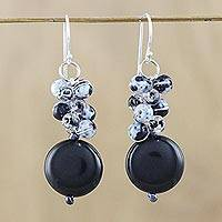 Onyx beaded dangle earrings, 'Fun Circles in Black' - Onyx and Glass Bead Dangle Earrings from Thailand