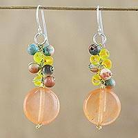 Quartz beaded dangle earrings, 'Fun Circles in Orange' - Orange Quartz and Glass Bead Dangle Earrings from Thailand