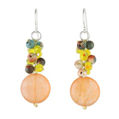 Orange Quartz and Glass Bead Dangle Earrings from Thailand