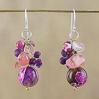 Quartz dangle earrings, 'Lovely Blend in Pink' - Pink Quartz and Glass Bead Dangle Earrings from Thailand