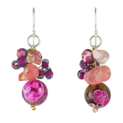 Pink Quartz and Glass Bead Dangle Earrings from Thailand