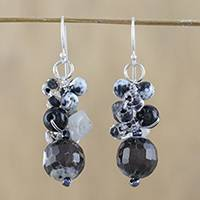 Quartz and onyx dangle earrings, 'Lovely Blend in Black' - Quartz and Onyx Dangle Earrings from Thailand