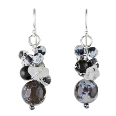 Quartz and Onyx Dangle Earrings from Thailand