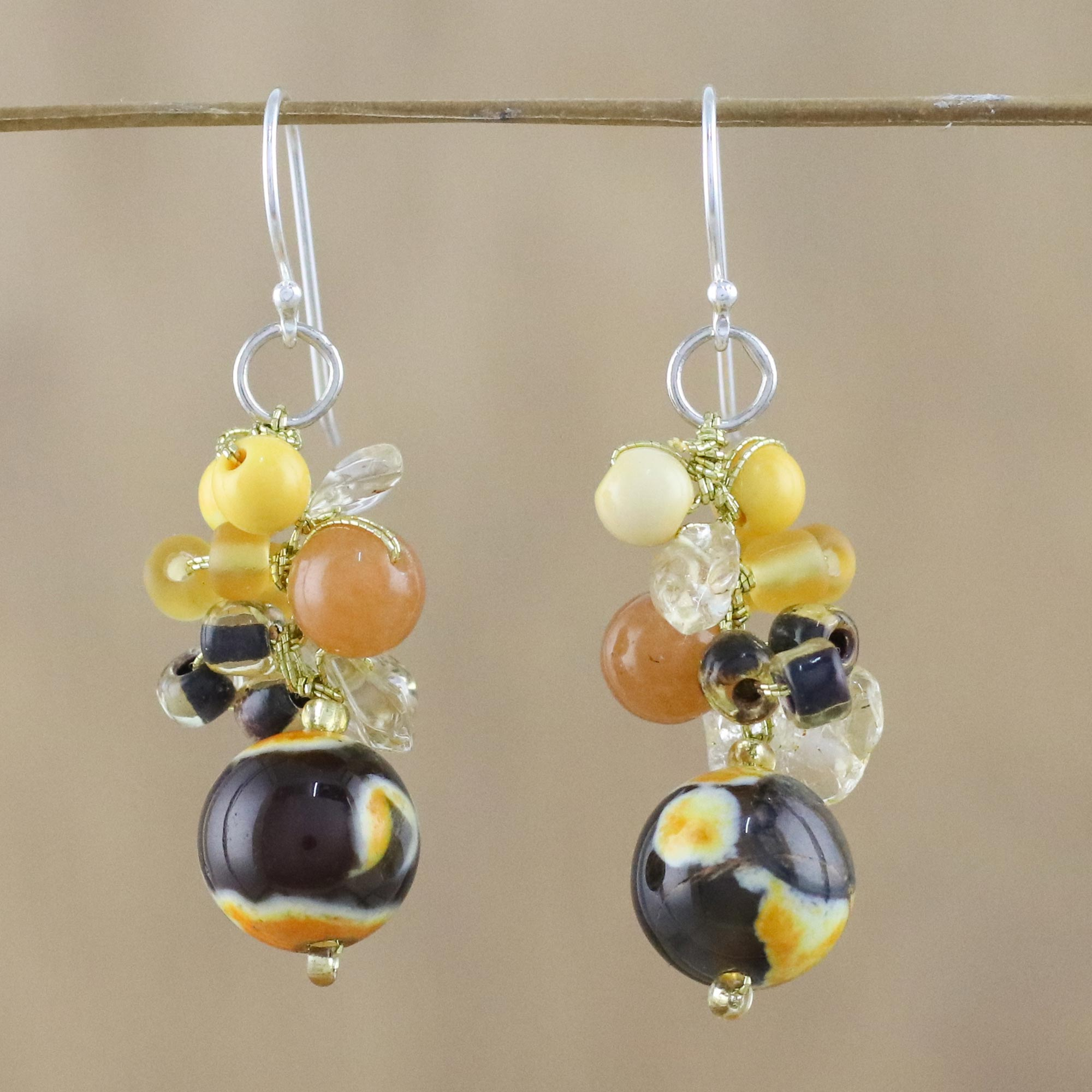 Yellow Quartz And Citrine Dangle Earrings From Thailand Lovely Blend In