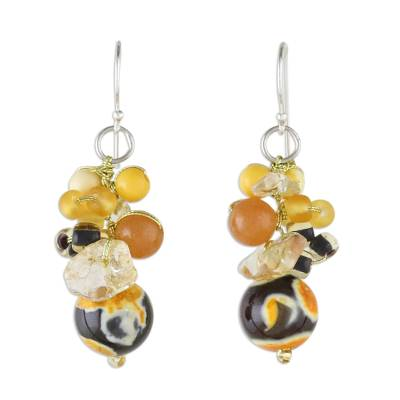 Yellow Quartz and Citrine Dangle Earrings from Thailand
