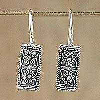 Sterling silver drop earrings, 'Barrel Blossom' - Sterling Silver Floral Drop Earrings in a Half Barrel Shape