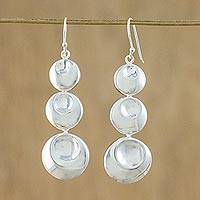 Sterling silver dangle earrings, 'Rain Bubbles' - Sterling Silver Three Circle Dangle Earrings from Thailand
