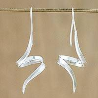 Sterling silver drop earrings, 'Ribbon Curls' - Thai Sterling Silver Drop Earrings with Spiral Motif