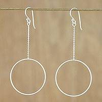 Sterling silver dangle earrings, 'Breezy Circle' - Thai Matte Finish Sterling Silver Circle Dangle Earrings