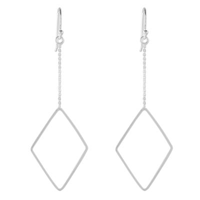High Polish Sterling Silver Diamond Shaped Dangle Earrings