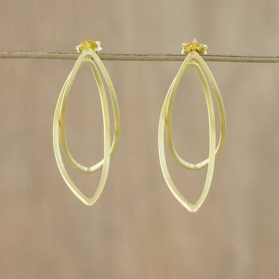 Gold-plated sterling silver drop earrings, 'Golden Lotus Petals' - Thai Petal Shaped Gold Plated Sterling Silver Drop Earrings