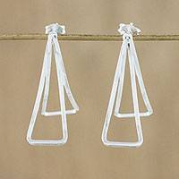 Sterling silver drop earrings, 'Intertwined Petals' - Sterling Silver Double Petal Drop Earrings from Thailand