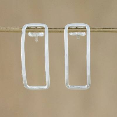 Sterling silver drop earrings, 'Heavenly Rectangles' - Thai Sterling Silver Rectangular Outline Drop Earrings