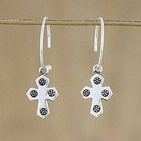 Sterling silver dangle earrings, 'The Believer' - Sterling Silver Cross Motif Dangle Earrings from Thailand