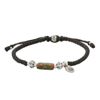 Unakite and silver pendant bracelet, 'Hill Tribe Spring' - Adjustable Cord Bracelet with Unakite and 950 Silver