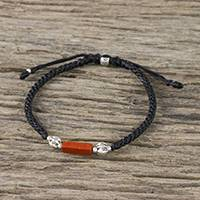 Jasper and silver pendant bracelet, 'Hill Tribe Brick' - Red Jasper and 950 Silver Pendant Bracelet