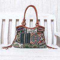 Leather accented cotton blend shoulder bag,