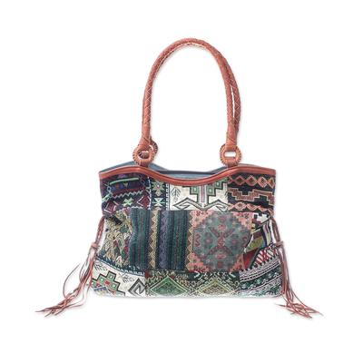 Novica Leather accented cotton blend shoulder bag, Chiang Mai Patchwork in Black