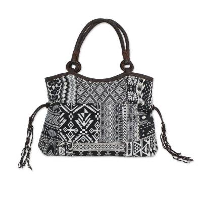 Black and White Patchwork Shoulder Bag from Thailand