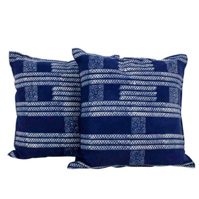Cotton batik cushion covers, 'Indigo Dreams' (pair) - Hand Crafted Blue Batik Square Cushion Covers (Pair)
