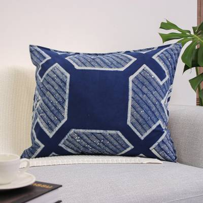 Cotton batik cushion cover, 'Hmong Cross' - Blue Batik Print Hand Crafted Cushion Cover