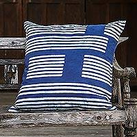 Cotton batik cushion cover, 'Split Bamboo' - Rectangular Cotton Batik Cushion Cover in Indigo